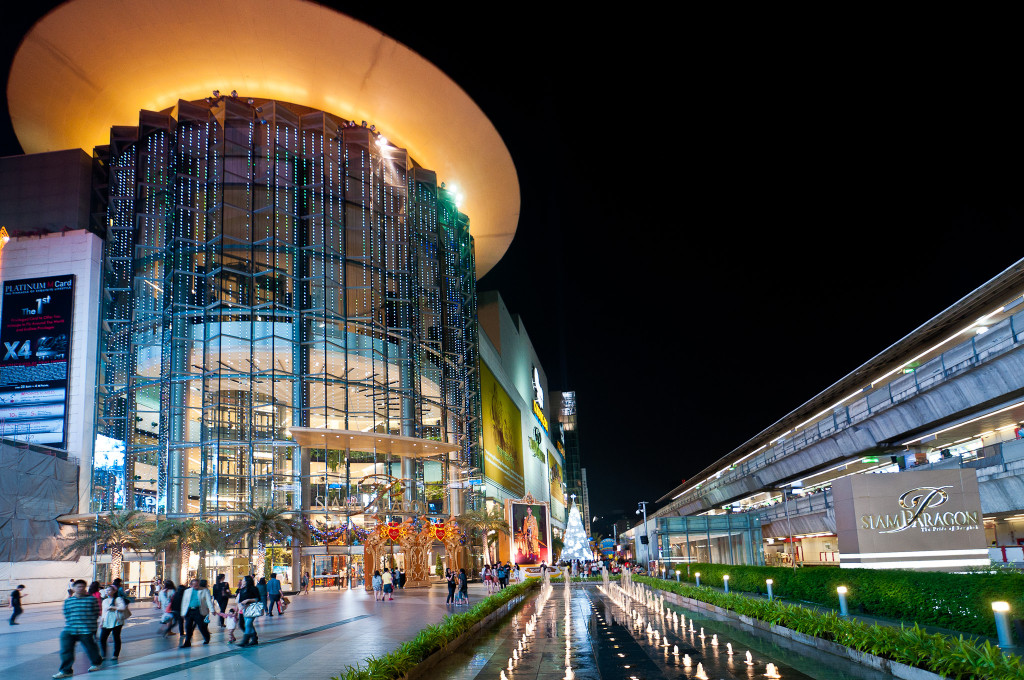 The Siam Paragon shopping center in Bangkok is decorated for the Christmas and New Year holidays.