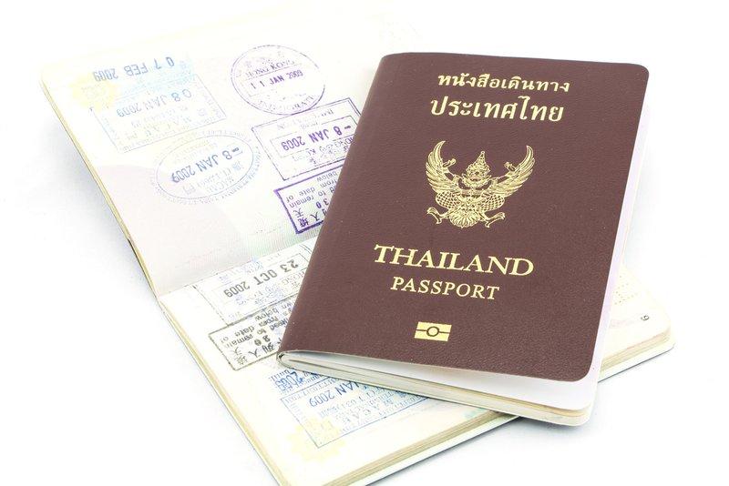 Thailand passport visa stamp isolatedThailand passport  isolated on white